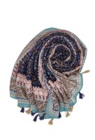 Leichter Schal mit Pompons lila