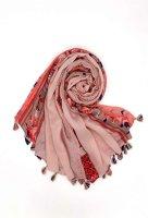 Leichter Schal mit Federn rosa